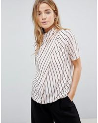 ASOS - Design Ruched High Neck T-shirt In Stripe - Lyst