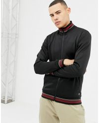 Solid - Sateen Track Jacket Stripe Collar And Cuffs In Black - Lyst