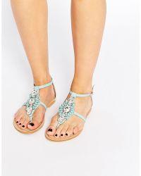 Forever Unique - Flavia Embellished Flat Sandals - Mint - Lyst