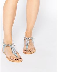 Forever Unique - Maiden Embellished Toepost Flat Sandals - Lyst