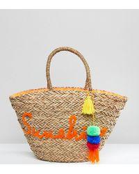 South Beach | Sunshine Embroidered Straw Beach Bag | Lyst