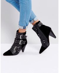 New Look - Stud Buckle Ankle Boot With Cone Heel - Lyst