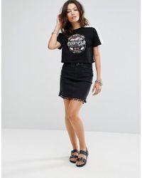 New Look | Denim Mom Skirt With Pom Trim | Lyst