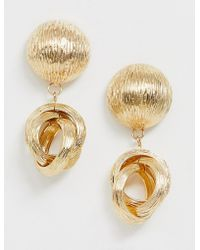 ASOS - Earrings With Textured Link Drop In Gold Tone - Lyst