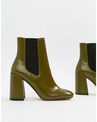 River Island - Square Toe Heeled Boots In Green - Lyst