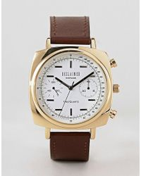 Reclaimed (vintage) - Inspired Square Chronograph Leather Watch In Brown 42mm Exclusive To Asos - Lyst
