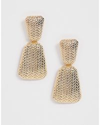 ASOS - Earrings In Woven Textured Drop Design In Gold Tone - Lyst