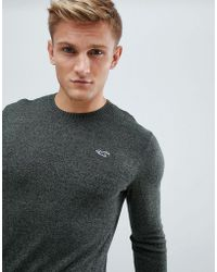 Hollister - Icon Logo Crew Neck Jumper In Green Marl - Lyst