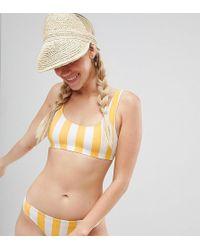 Monki - Block Stripe Sporty Bikini Top In Yellow Stripe - Lyst