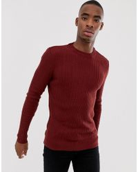Bershka - Slim Ribbed Jumper In Red With Crew Neck - Lyst