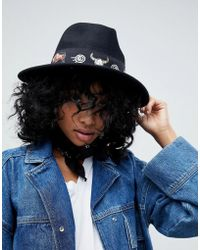 ASOS - Felt Panama Hat With Print Band With Size Adjuster - Lyst