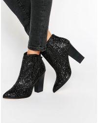 Little Mistress - Harlow Glitter Ankle Boots - Lyst
