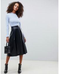 c7abc3fc3987 Monki Midi Skirt With Pocket Detail in Black - Lyst