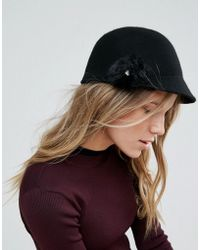 Ted Baker - Felt Hat With Faux Fur Pompom - Lyst
