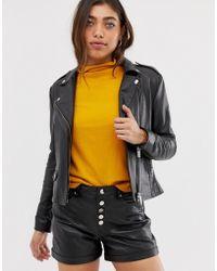 Muubaa - Fitted Leather Biker Jacket - Lyst