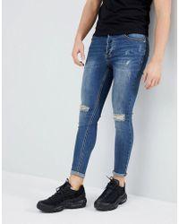 Kings Will Dream - Super Skinny Fit Lumor Jeans In Midwash Blue - Lyst