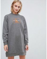 Calvin Klein - Jeans Reissue Logo Sweatshirt Dress - Lyst