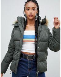 Bershka - Padded Jacket With Faux Fur Hood In Khaki - Lyst