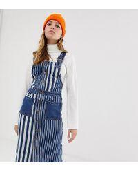 Noisy May Petite - Stripe Denim Pinnafore Dress - Lyst
