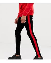 b5d497ddab0b Sixth June - Super Skinny Jeans In Black With Red Side Stripe Exclusive To  Asos -