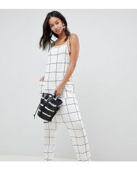 ASOS - Asos Design Tall Jumpsuit Minimal With Ties In White Check - Lyst