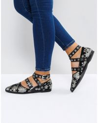 Sol Sana - Miro Floral Buckle Detail Flat Shoes - Lyst