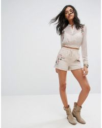 Glamorous | Shorts With Floral Embroidery Co-ord | Lyst