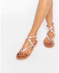SELECTED - Elected Femme Alessa Rose Gold Leather Gladiator Flat Sandals - Lyst
