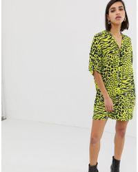 ASOS - Chuck On Mini Shirt Dress In Neon Snake - Lyst