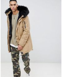 Sixth June - Parka Coat In Stone With Black Faux Fur Hood - Lyst