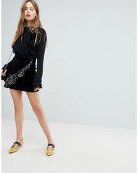 Bershka - Velvet Asymmetric Ruffle Skirt - Lyst
