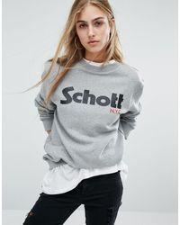 Schott Nyc - Sweat Jumper With Front Logo - Heather Grey - Lyst