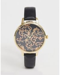 ASOS - Watch With Vintage Style Baroque Print With Black Strap - Lyst