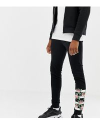 ASOS - Tall Super Skinny joggers With Rose Gold Zip Pockets And Print - Lyst