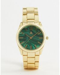 ASOS - Metal Watch With Stone Slice Print In Gold - Lyst