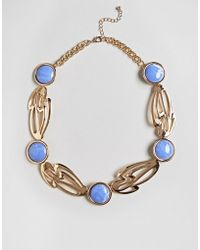 ASOS - Statement Abstract Cut Out Stone Detail Necklace - Lyst