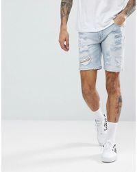ASOS - Short en jean coupe skinny trs dchir dlavage clair - Lyst