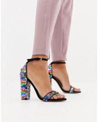 08d274d4939 Lyst - Miss Selfridge Honor Sequin Embellished Block Heel Sandals in ...
