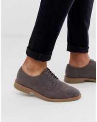 ASOS - Lace Up Shoes In Gray Faux Suede With Faux Crepe Sole - Lyst
