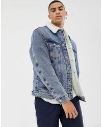 Bershka - Denim Jacket In Mid Blue With Fleece Collar And Lining - Lyst