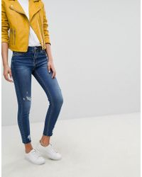Stradivarius - High Waist Jean With Worn Patching - Lyst