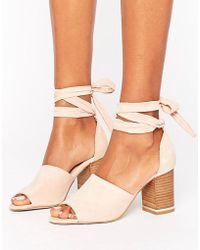 ASOS | Take Charge Tie Leg Heeled Sandals | Lyst