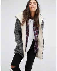 Billabong - Oversized Jacket With Faux Fur Lining In Buckle Wool Yarn - Lyst