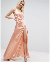 ASOS | Strap Drape Front Thigh Split Maxi Dress | Lyst