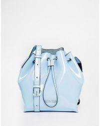 CALVIN KLEIN 205W39NYC - Drawstring Bucket Bag In Patent Pastel Blue - Lyst