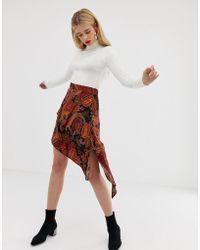 d4bc9d0342 Stradivarius - Asymmetric Skirt In Paisley Print - Lyst