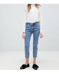 Monki Monokomi Cropped Straight Leg Jeans With Organic Cotton In Mid Blue