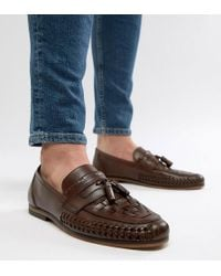 ASOS - Design Wide Fit Loafers In Woven Tan Leather With Tassel Detail - Lyst