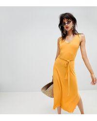 4c2212e1ecca7e Mango Halter Swing Dress in Yellow - Lyst