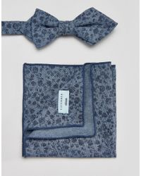 Minimum | Bow Tie And Pocket Square Set In Floral | Lyst